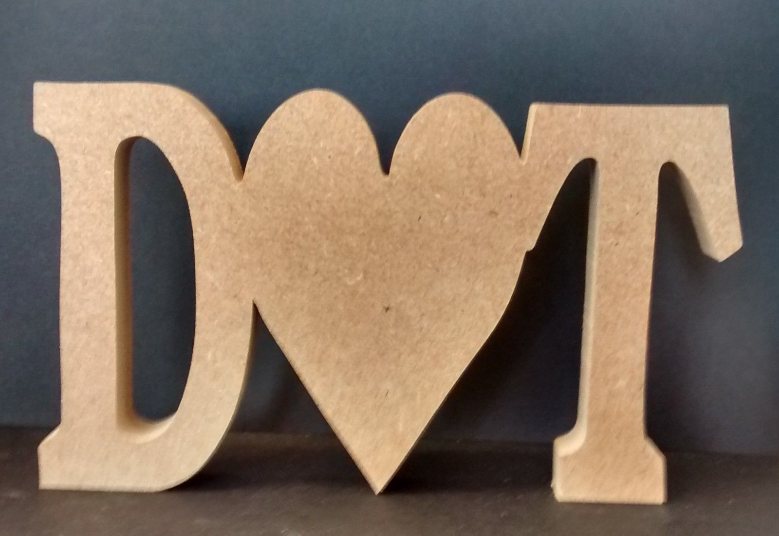 Large wooden letters with heart plaque for Large wooden letters